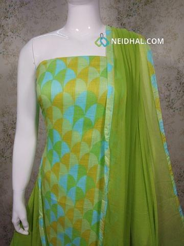 Printed Multicolor Cotton unstitched salwar material, Green cotton bottom, Green chiffon dupatta with taping