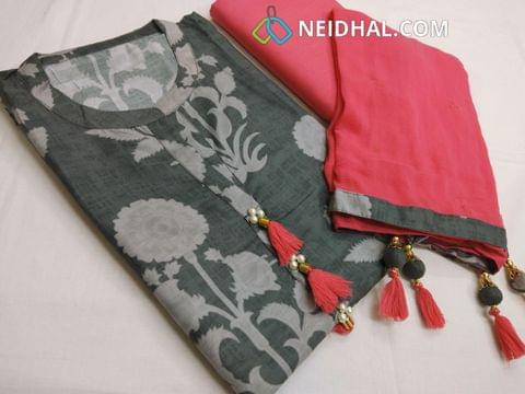 Premium Printed  Grey Soft Paper Silk Unstitched salwar material with neck pattern,  pink cotton bottom, Golden dew drops chiffon dupatta with fancy tassels