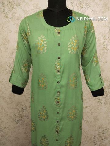 Golden Printed Green Modal kurti, with front closed placket (Refer Size chart, 3rd pic before ordering, No Refund, No Return, No exchange, No cancellation), Round Neck, Height 43, 3/4 sleeves with flaps.