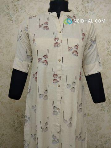 Printed Cream Jute Flex kurti, with thread and sequence work on front side, with front open placket (Refer Size chart, 3rd pic before ordering, No Refund, No Return, No exchange, No cancellation), Round Neck, Height 43, 3/4 sleeves with flaps.