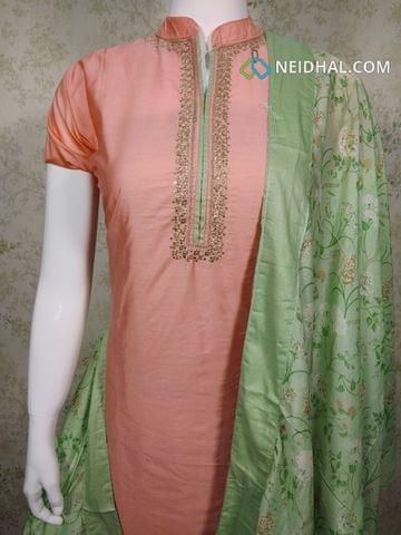 Designer Peach Masleen unstitched Salwar material(requires lining) with Zari thread and sequence work on yoke, plain back side, peach cotton bottom,digital printed masleen silk dupatta with tapings.