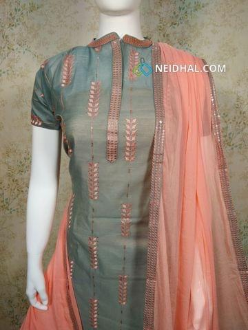 Designer Grey Silk Cotton unstitched Salwar material(requires lining) with neck patten,  thread and sequence work on front side, plain back side,  peach cotton bottom, peach chiffon dupatta with tapings,