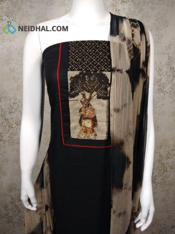 Black Cotton unstitched salwar material with mini stone, thread and pipe work on yoke, beige Cotton bottom, Shibori printed Dual color chiffon dupatta with tassels