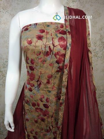 Leaf Printed Beige Satin Cotton Unstitched salwar material, maroon cotton bottom, maroon chiffon dupatta with tapings.
