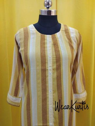 Printed Yellow Striped Modal Fabric Kurti with front closed placket,(Refer Size chart, 3rd pic before ordering, No Refund, No Return, No exchange, No cancellation), Round neck, Height 44-45, 3/4 Sleeves, front and side slits