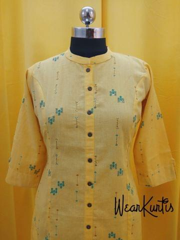 Printed Yellow cotton Kurti, thread and zari workFront open placket(2 buttons can be unbuttoned) (Refer Size chart, 3rd pic before ordering, No Refund, No Return, No exchange, No cancellation),Mandarin Collar,Height 44, 3/4 Sleeves with flaps, front and slide slits.