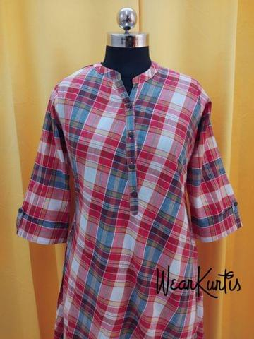 Checked MultiColor Cotton Kurti With open front placket (all buttons can be unbuttoned)(Refer Size chart, 3rd pic before ordering, No Refund, No Return, No exchange, No cancellation), Mandarin Collar, Height 44-45, 3/4 Sleeves with flaps, A Line, two side pockets, Aline
