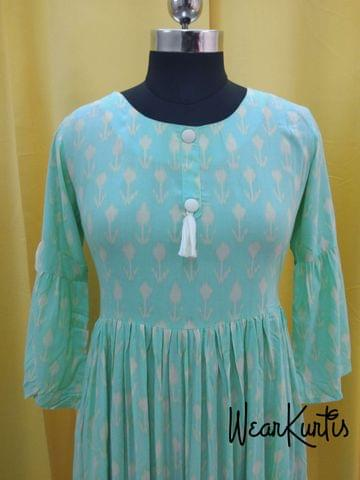 Light Blue Modal Fabric gathered waistline flared Kurti With closed front placket(Refer Size chart, 3rd pic before ordering, No Refund, No Return, No exchange, No cancellation), Round Neck, Height 44-46, 3/4  bell Sleeves ,