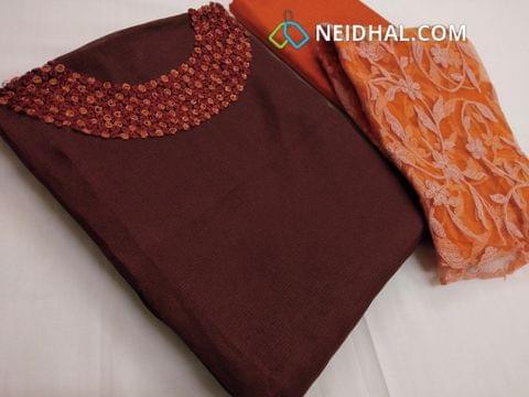 Designer Brown accord(net fabric) unstitched salwar material with thread work on yoke, Orange silk cotton bottom, Super net dupatta with thread work