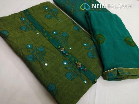 Designer Green Printed Masleen Silk unstiched salwar material with foil mirror work on front side, printed soft bottom, Pure chiffon dupatta with taping