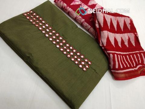 Green Silk cotton unstitched salwar material(requires lining) with Mirror work on yoke, Printed cotton bottom, batik printed soft slik cotton dupatta with tassels