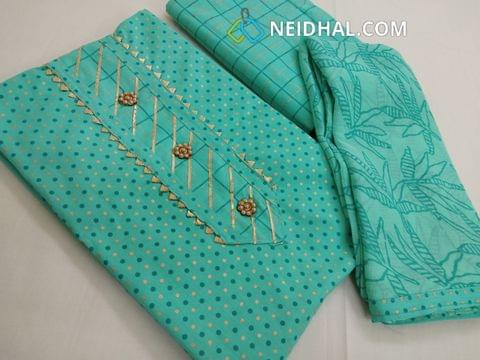 Printed Blue cotton unstitched salwar material, cotton bottom, printed chiffon dupatta with taping