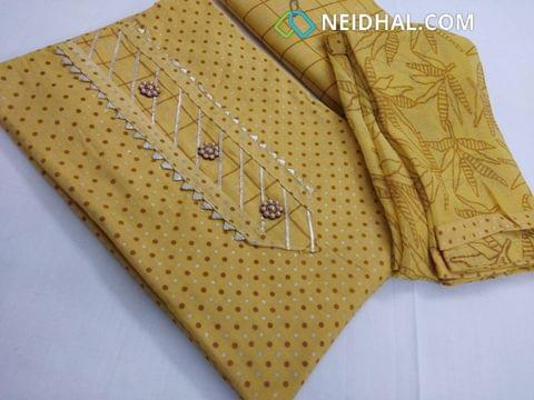 Printed Yellow cotton unstitched salwar material, cotton bottom, printed chiffon dupatta with taping