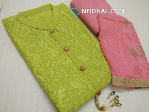 Designer Green Silk Cotton Unstitched salwar material(requires lining) with heavy embroidery work on front side, neck patten, plain back side, pink silk cotton bottom, printed pink chiffon dupatta with tapings.