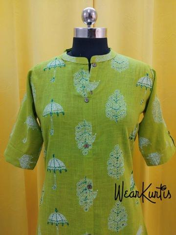 Umberlla Printed Green Slub Cotton Kurti with thread and sequence work, Front open placket(2 buttons) (Refer Size chart, 3rd pic before ordering, No Refund, No Return, No exchange, No cancellation), Mandarin Collar, Height 44, 3/4 sleeves with flaps, front and side slits.
