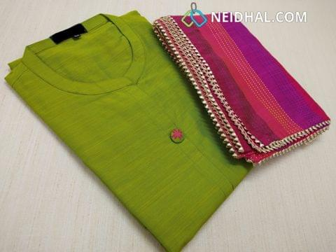 Designer Green Dupian Silk cotton stitiched Kurti (Refer Size chart, 2nd pic before ordering, No Refund, No Return, No exchange, No cancellation),  mandarin collar, fancy dummy buttons,  3/4 sleeves, front and side slits, kantha stitch work on blue silk cotton stole with fancy taping
