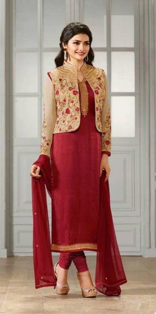 Attractive Maroon Semi-Sttiched Anarkali Suit