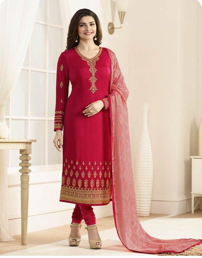 Red Georgette Semi-Sttiched Salwar Suit