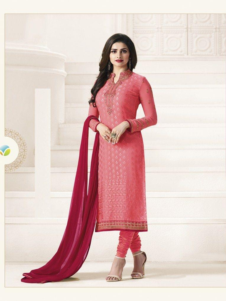 Attractive Pink Desinger Straight Salwar Suit