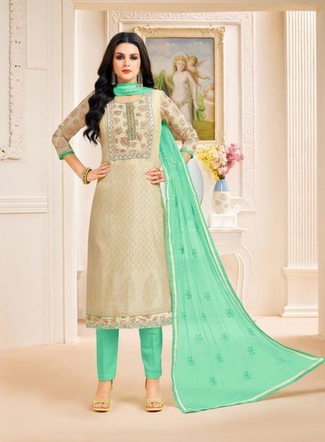 Cream Color Designer Semi Stitched Suit 25160