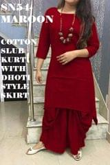 Maroon Color Full Stitched Patiyala Kurti SN54-Maroon