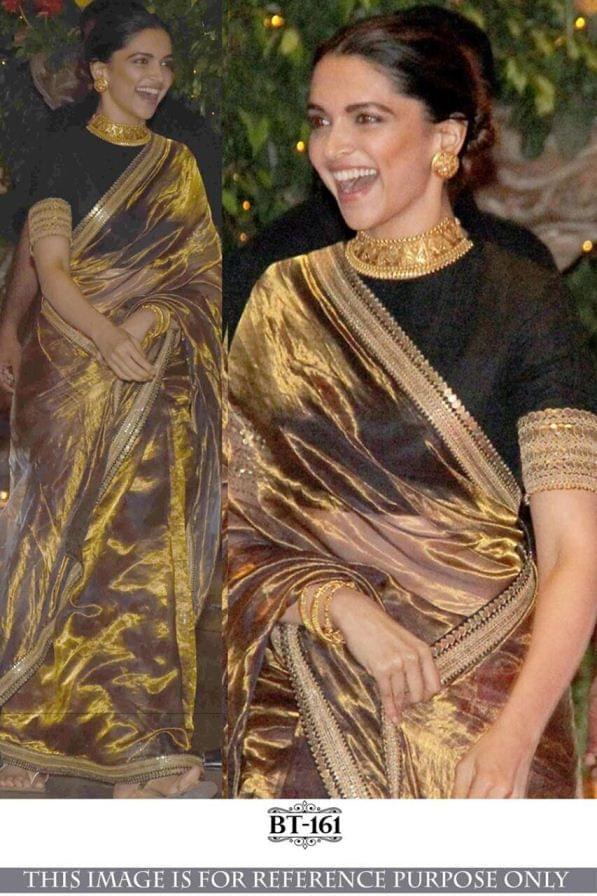Golden Color Tissue Silk Saree BT-161