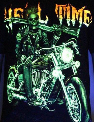 Hell Time - Biker Tatto Glow in the Dark Radium Neon UV High definition 3D Club Tshirt