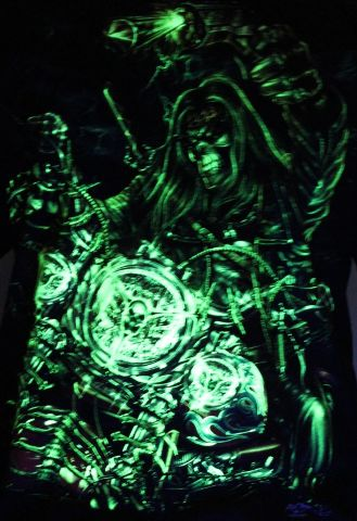 Pirate Ghost Biker- Glow in the Dark Radium Neon UV High definition 3D Club Biker Tattoo Tshirt Buy Online in India