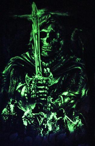 Vikings Fighter -  Glow in the Dark Radium Neon UV High definition 3D Club Biker Tattoo Tshirt Buy Online in India