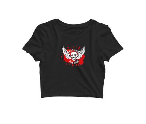 Rock Hard   Play it Loud. Wing skull  Croptop for music lovers