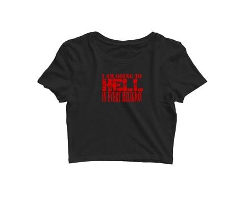 Going to hell in Every Religion   Rebel Metal  Croptop for music lovers