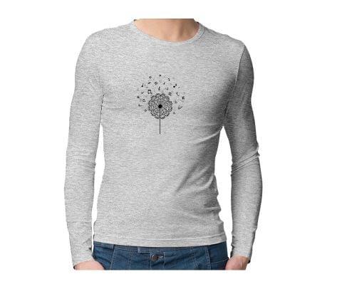 Music Dandelion Notes  Unisex Full Sleeves Tshirt for men women