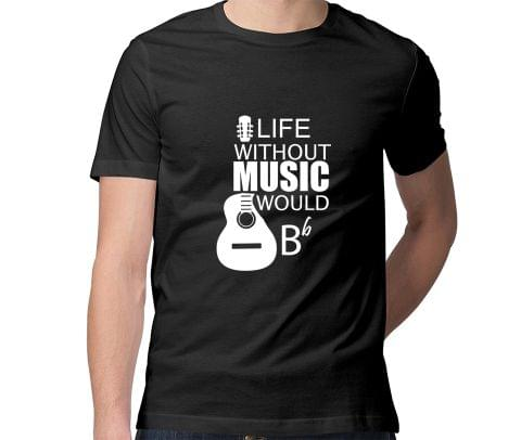 Life without Music would B flat  Men Round Neck Tshirt