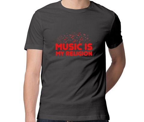 Music is my Religion  Men Round Neck Tshirt