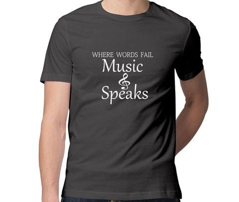 Music Speaks  Men Round Neck Tshirt