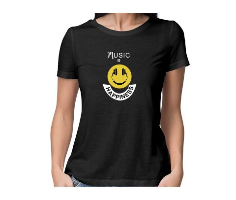 Music is Happiness  round neck half sleeve tshirt for women