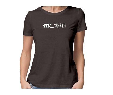 Music Art  round neck half sleeve tshirt for women