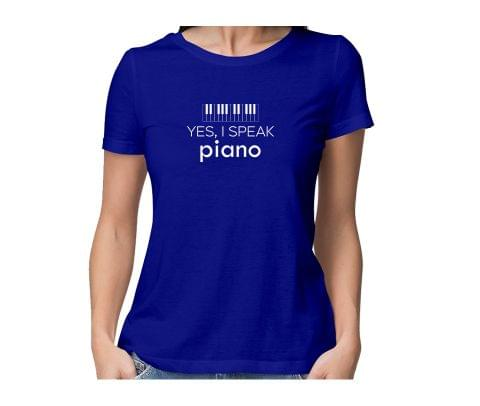 Speak Piano  round neck half sleeve tshirt for women