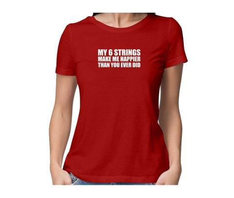 Guitarist String happiness New Design  round neck half sleeve tshirt for women