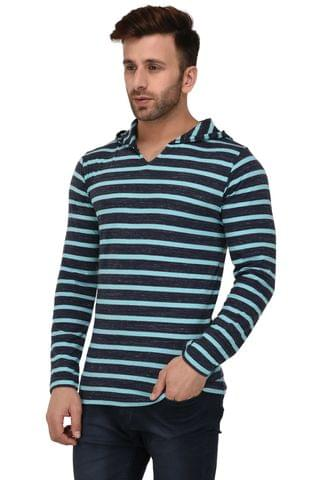 Rigo Blue Stripe Hooded Full Sleeve Slim Fit Tshirt For Men