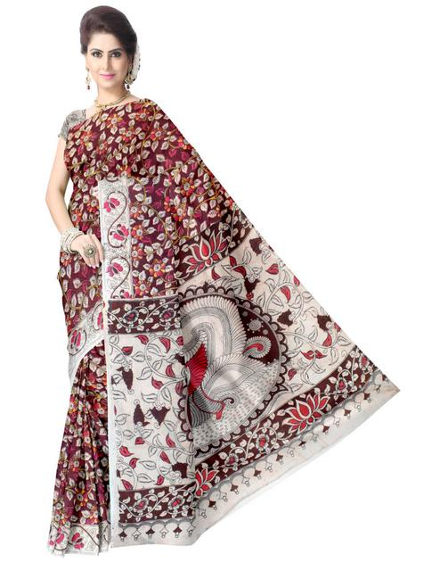 Kalamkari Saree in Cotton-Multicolor