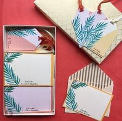 Personalised Dual Tropical Leaves Notecard & Gift Tag Set