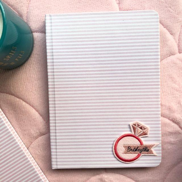 Pink Stripes Hardbound Journal   Customize with a patch of your choice