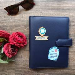 Faux Leather Planner: Navy Blue | Customise with any 2 patches of your choice