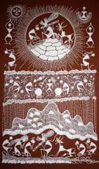 Warli Painting on Canvas- Theme- Krishna cha Dongar (Krishna lifting Govardhan hill)-B4