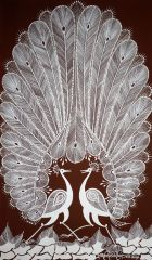 Warli Painting on Canvas- Theme: Mor Jodi (Pair of Peacocks)-C4