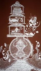 Warli Painting on Canvas- Theme: Shankar Dev (Lord Shankar)-C5