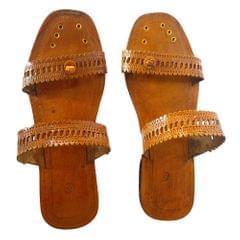 Women Brown Kolhapuri Sandal-Double Patti