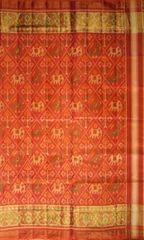 Single Ikat Patola Saree Handwoven-Pure Silk-Orange