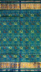 Single Ikat Patola Saree Handwoven-Pure Silk-Blue Dual Shade
